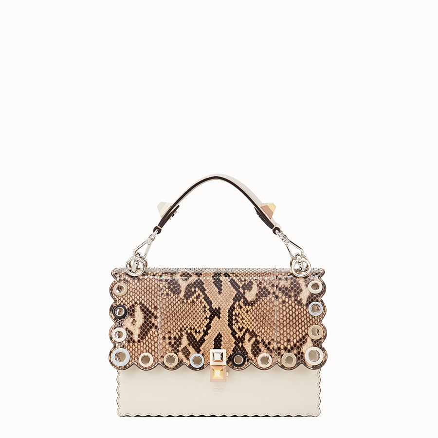 FENDI KAN I - White leather bag with exotic details - view 1 detail