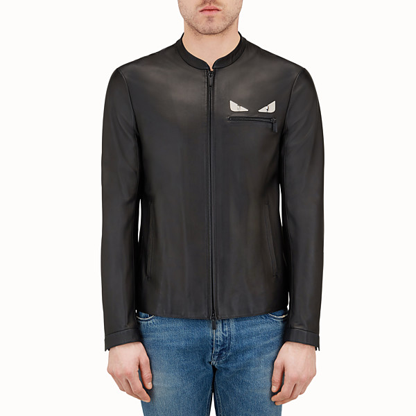 FENDI JACKET - Black leather jacket - view 1 small thumbnail