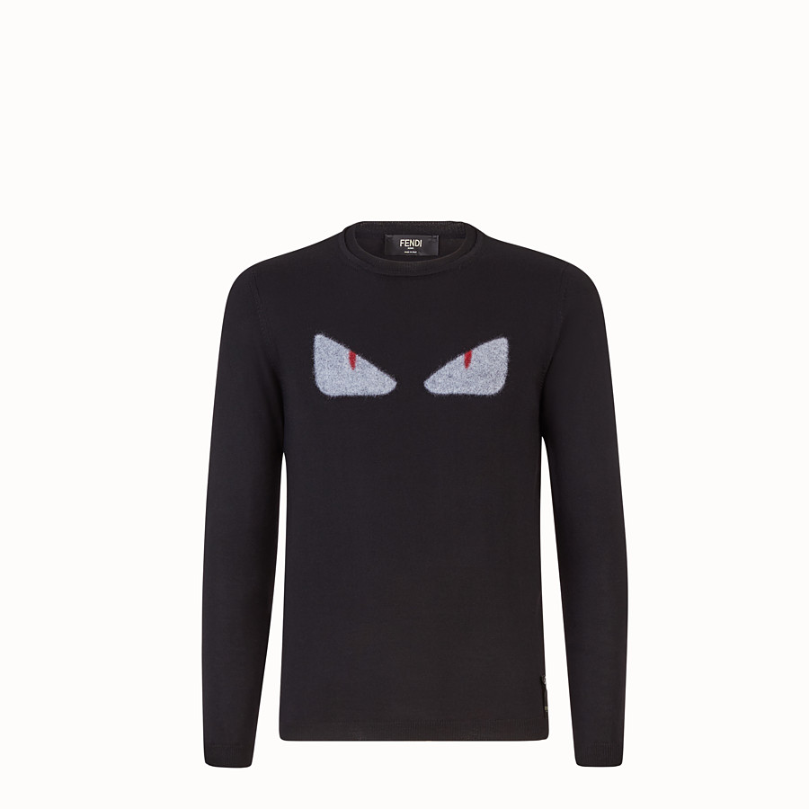 FENDI SWEATSHIRT - Black wool and fur pullover - view 1 detail