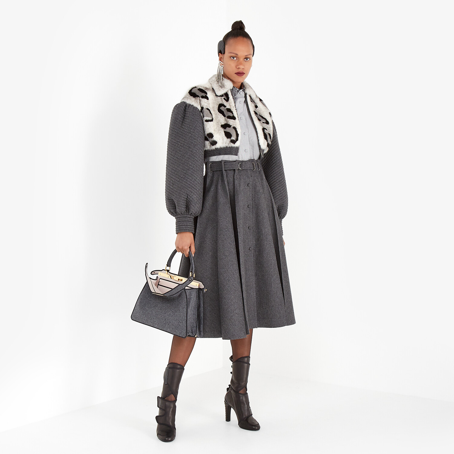 FENDI JACKET - Gray mink and cashmere jacket - view 4 detail