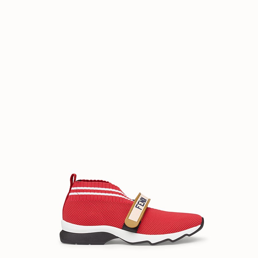 FENDI SNEAKERS - Red fabric sneakers - view 1 detail