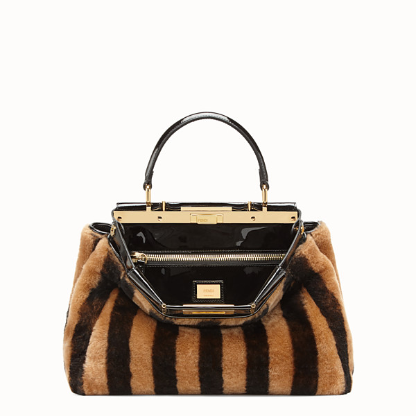 FENDI PEEKABOO ICONIC MEDIUM - Multicolour sheepskin and vinyl bag - view 1 small thumbnail