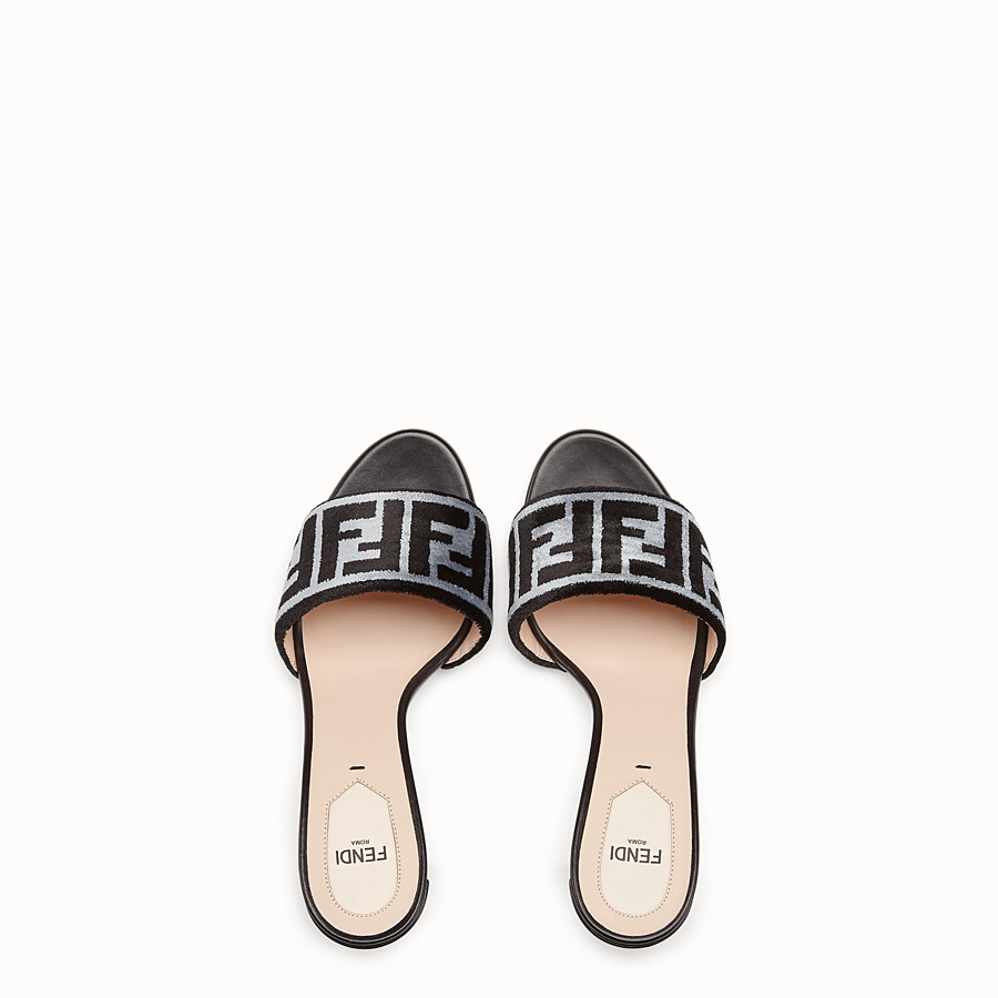 FENDI SLIDES - Multicolour fabric high-heel sandals - view 4 detail