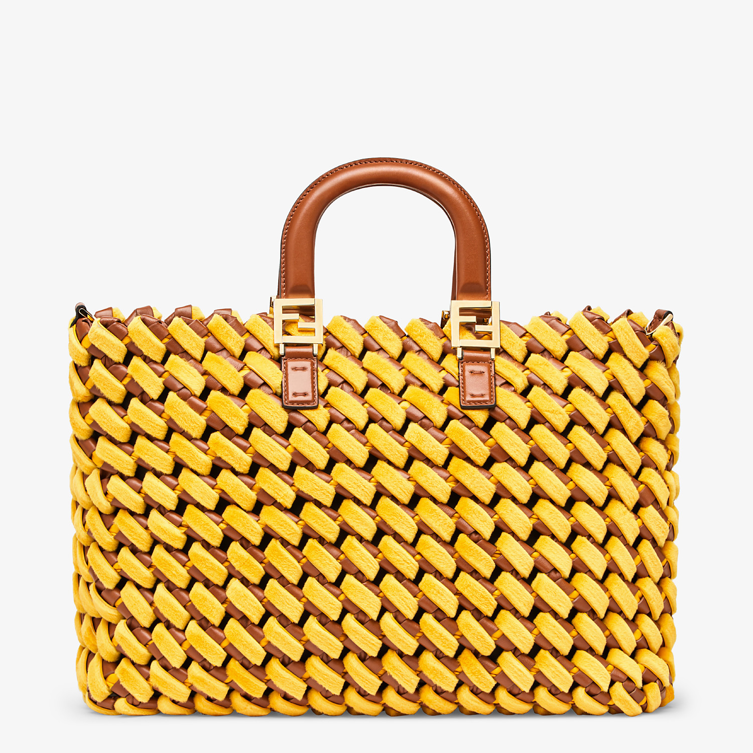 FENDI FF TOTE LARGE - Yellow mink and nappa leather bag - view 1 detail