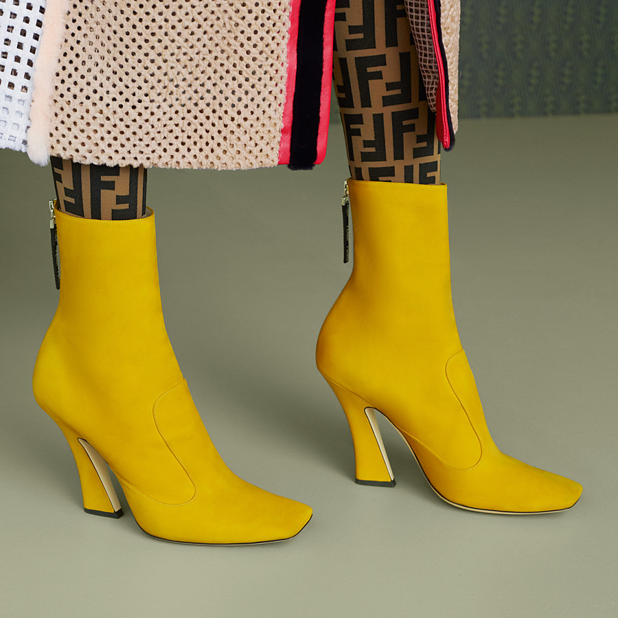 FENDI BOOTS - Yellow nubuck booties - view 5 detail