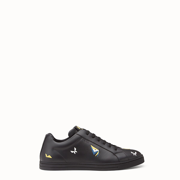 FENDI SNEAKER - Black leather lace-ups with embroidery - view 1 small thumbnail