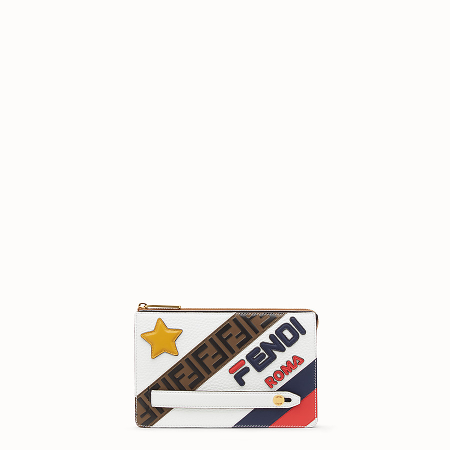 FENDI CLUTCH - White leather pochette - view 1 detail