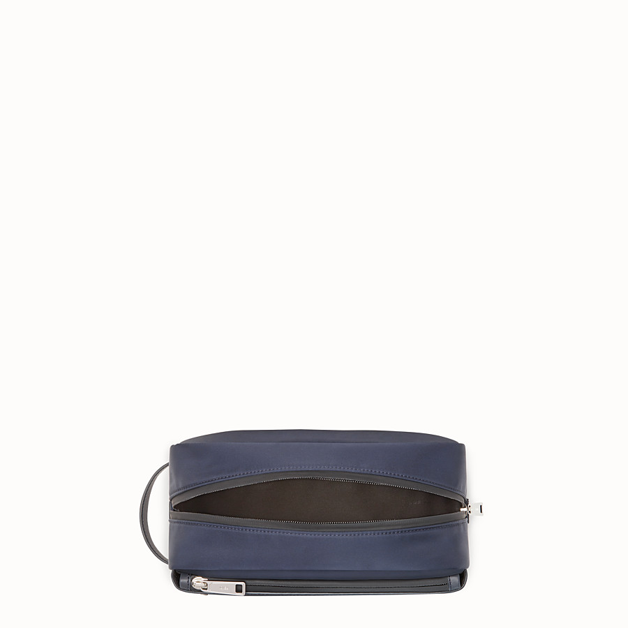 FENDI TOILETRY CASE - Blue nylon and leather case - view 3 detail
