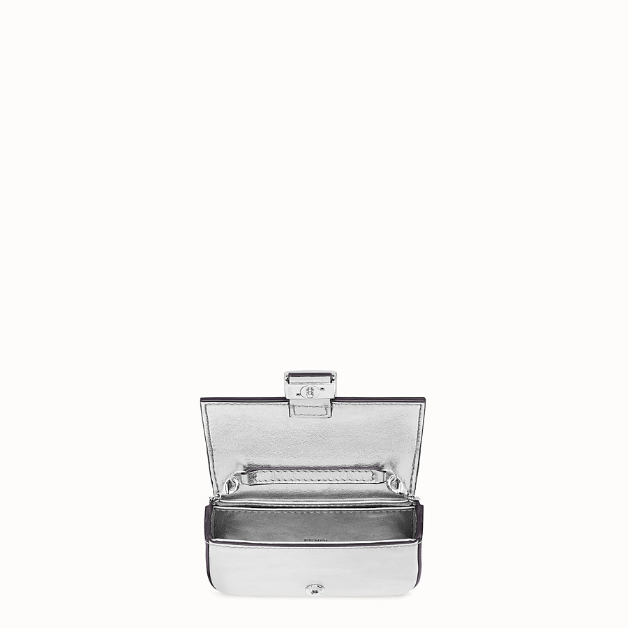 FENDI NANO BAGUETTE - Silver leather charm - view 5 detail