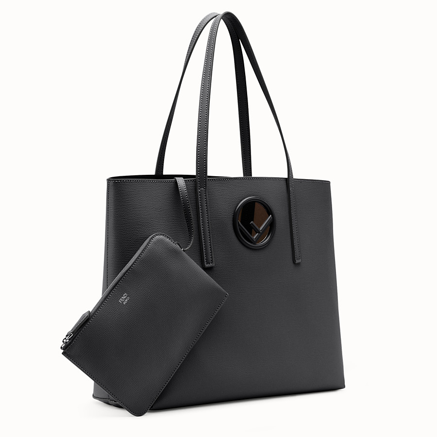 FENDI SHOPPING LOGO - Black leather shopper bag - view 2 detail