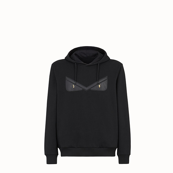 FENDI SWEATSHIRT - Black cotton jersey sweatshirt. - view 1 small thumbnail