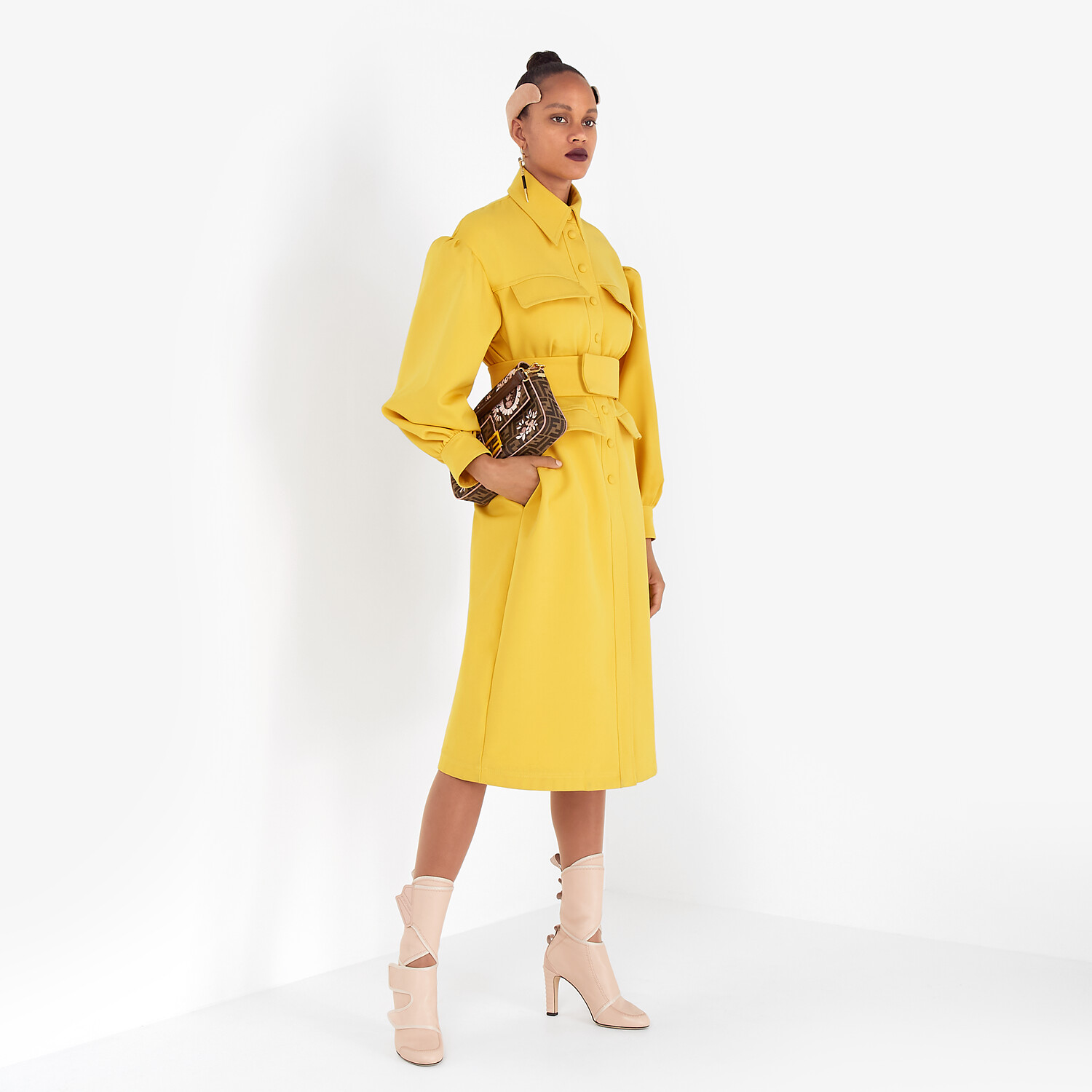 FENDI COAT - Yellow gabardine coat - view 4 detail