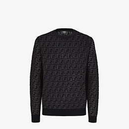FENDI PULLOVER - Jumper in black nylon and wool - view 1 thumbnail