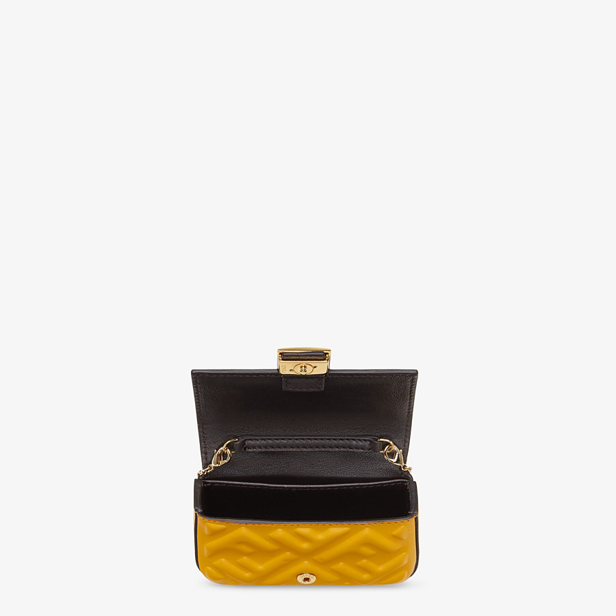 FENDI NANO BAGUETTE CHARM - Yellow nappa leather charm - view 4 detail