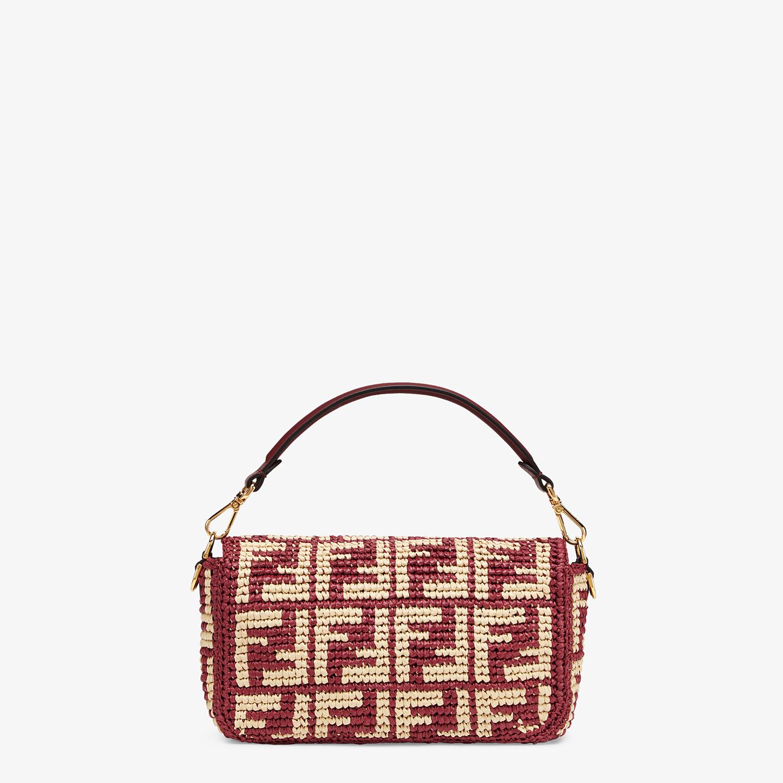 FENDI BAGUETTE - Tasche aus Raphia in Bordeaux mit FF-Signatur - view 4 detail