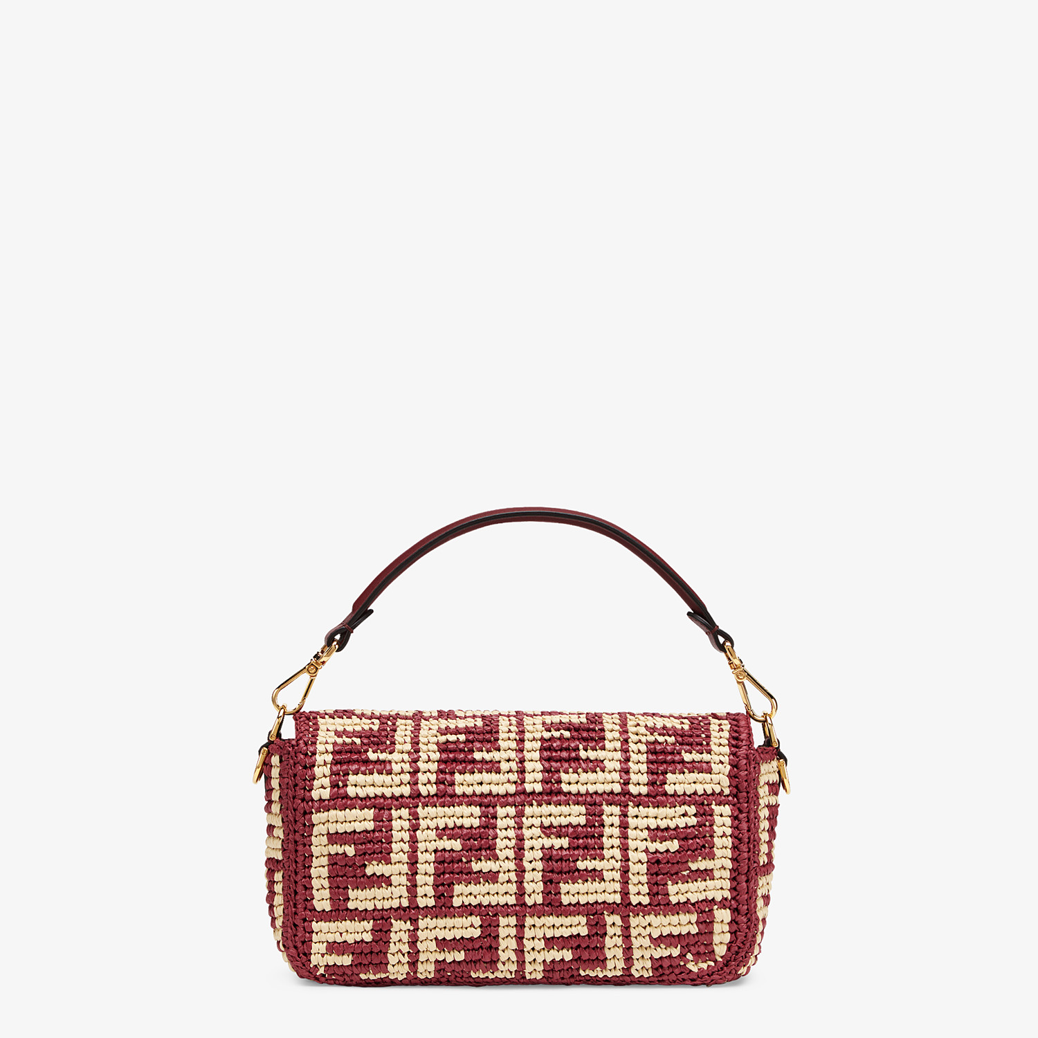 FENDI BAGUETTE - Burgundy raffia FF bag - view 4 detail