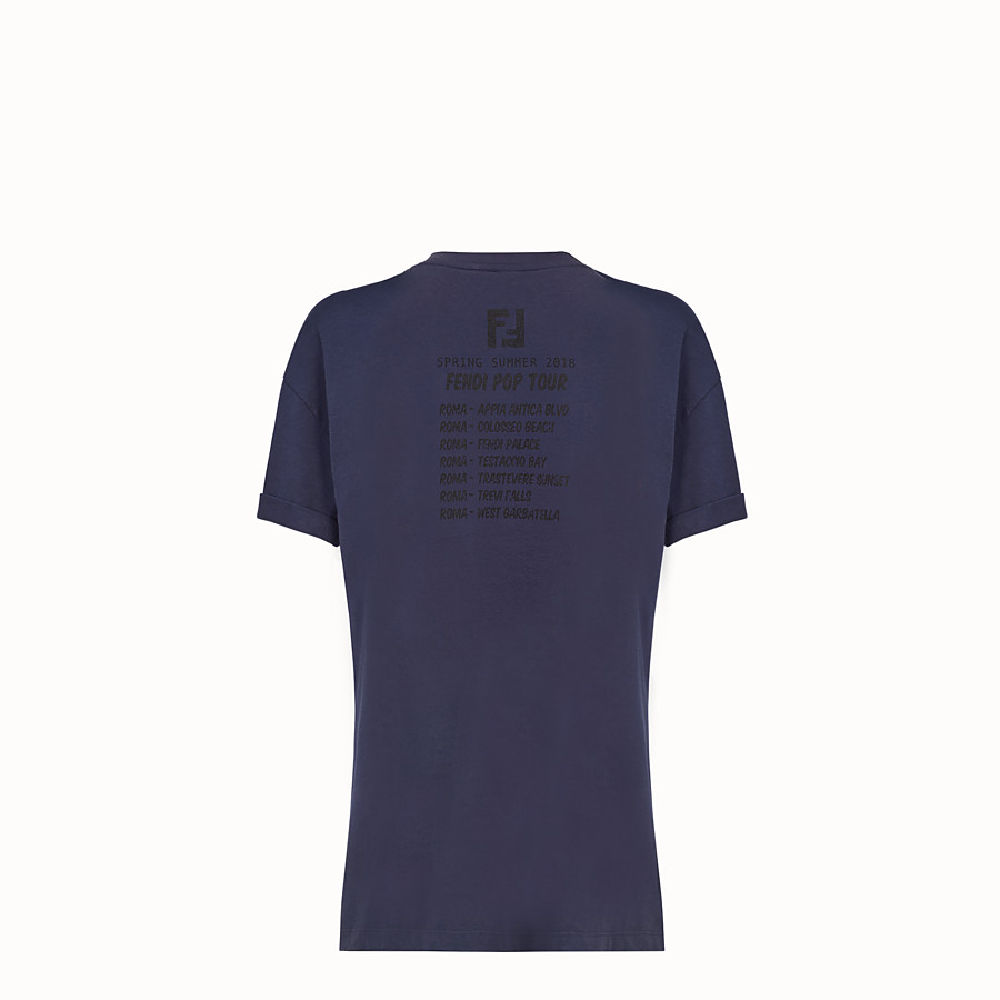 FENDI T-SHIRT - Blue cotton T-shirt - view 4 detail