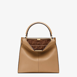FENDI PEEKABOO X-LITE MEDIUM - Beige leather bag - view 3 thumbnail
