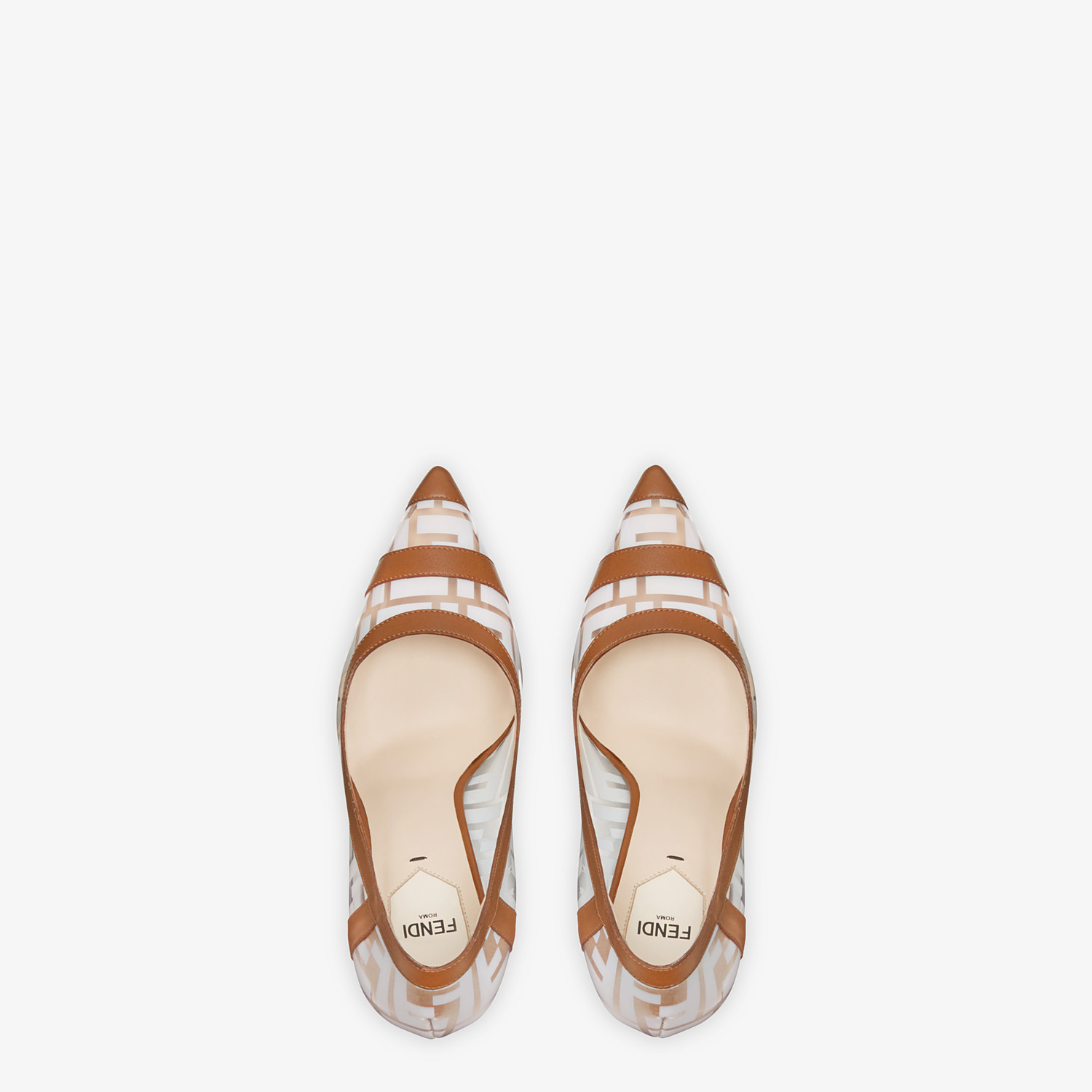 FENDI COURT SHOES - PU and white leather court shoes - view 4 detail
