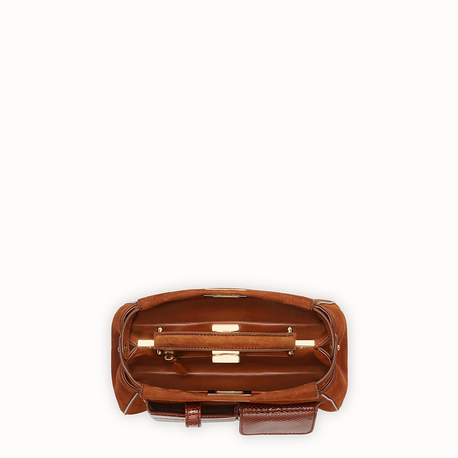 FENDI PEEKABOO ICONIC MINI - Bag in exotic, brown suede - view 4 detail