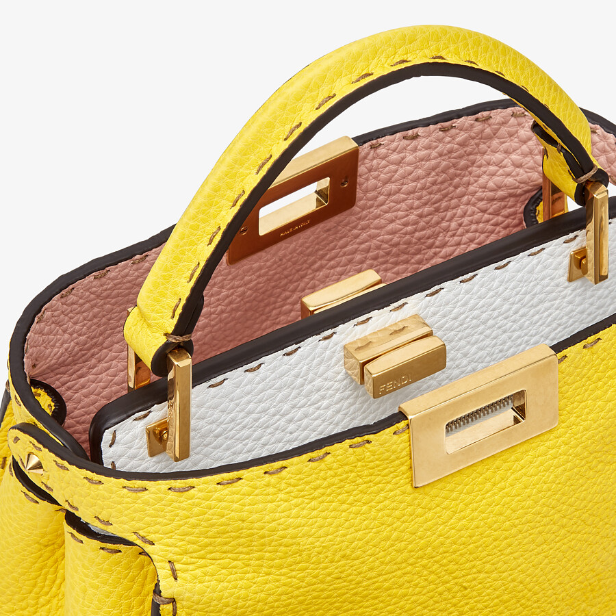 FENDI PEEKABOO ICONIC ESSENTIALLY - Yellow Cuoio Romano leather bag - view 6 detail