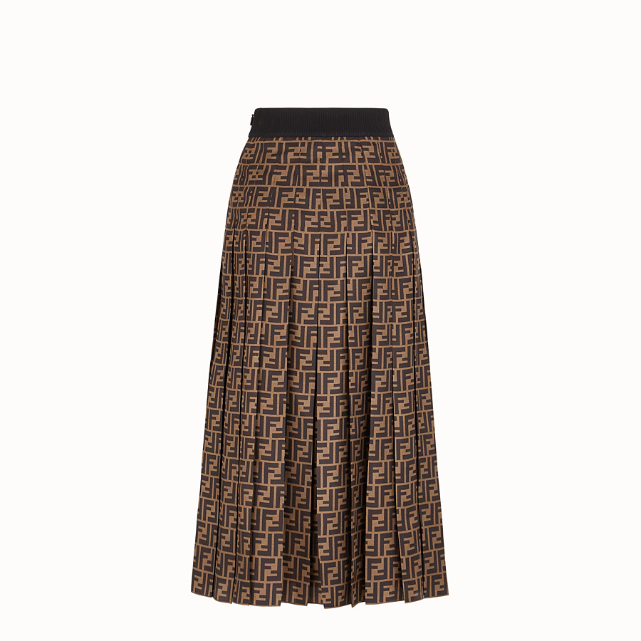 FENDI SKIRT - Brown twill skirt - view 2 detail