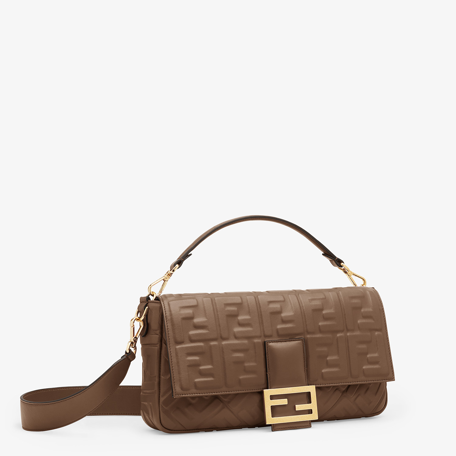 FENDI BAGUETTE LARGE - Brown nappa leather bag - view 2 detail