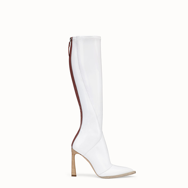 FENDI BOOTS - Boot in glossy, white neoprene - view 1 small thumbnail