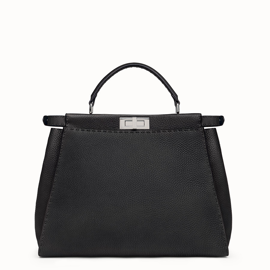 FENDI SELLERIA PEEKABOO - Black leather handbag - view 3 detail