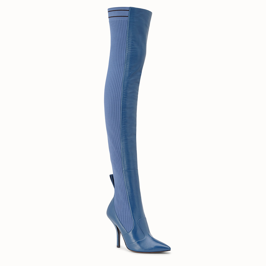 FENDI BOOTS - Blue leather thigh-high boots - view 2 detail