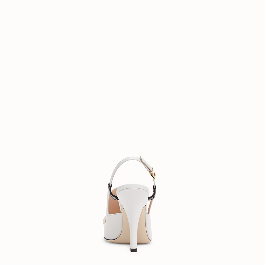 FENDI SLINGBACK - White nappa leather slingbacks - view 3 detail