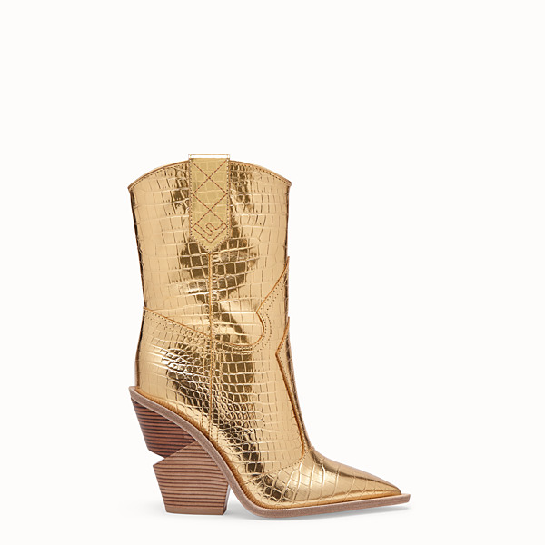 FENDI BOOTS - Ankle boots in gold-coloured leather - view 1 small thumbnail