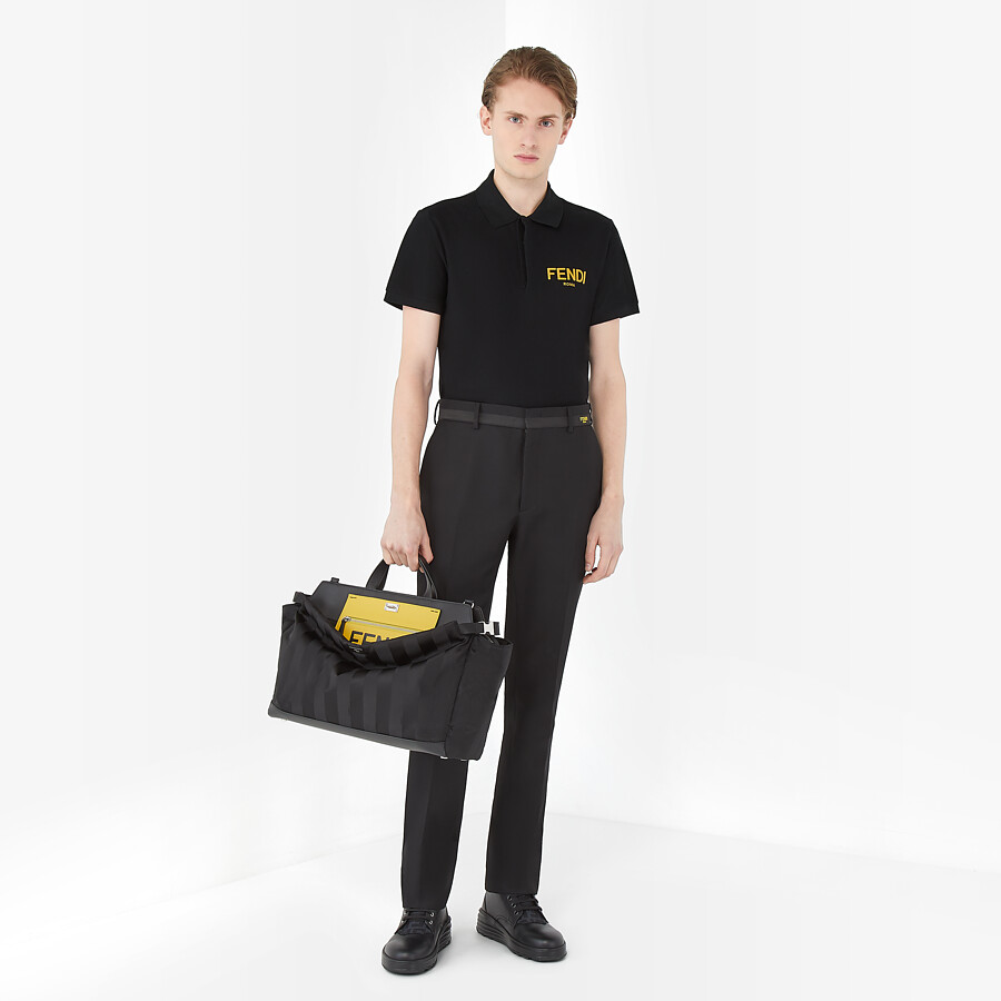 FENDI POLO SHIRT - Black cotton polo shirt - view 4 detail