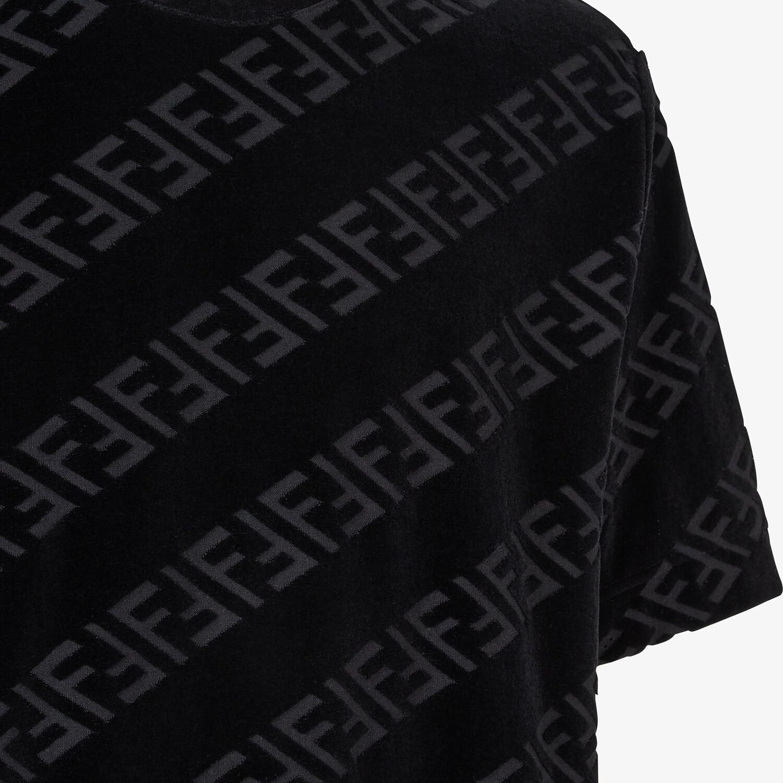 FENDI T-SHIRT - Black velvet T-shirt - view 3 detail