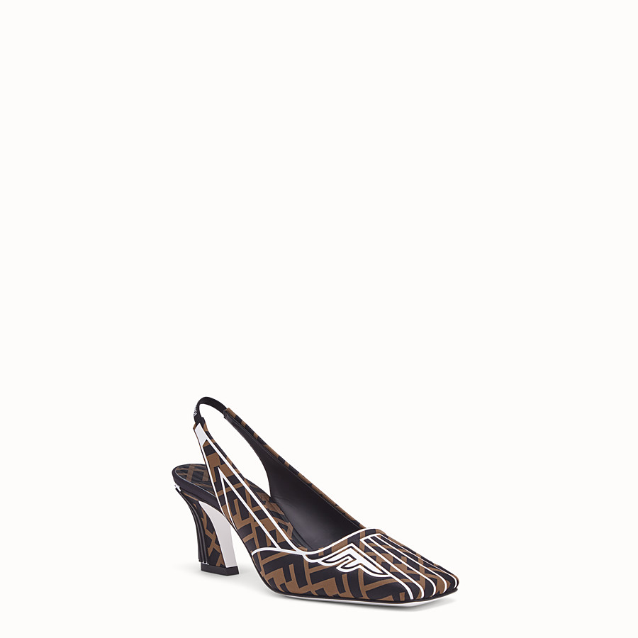 FENDI COURT SHOES - Slingbacks in brown fabric - view 2 detail