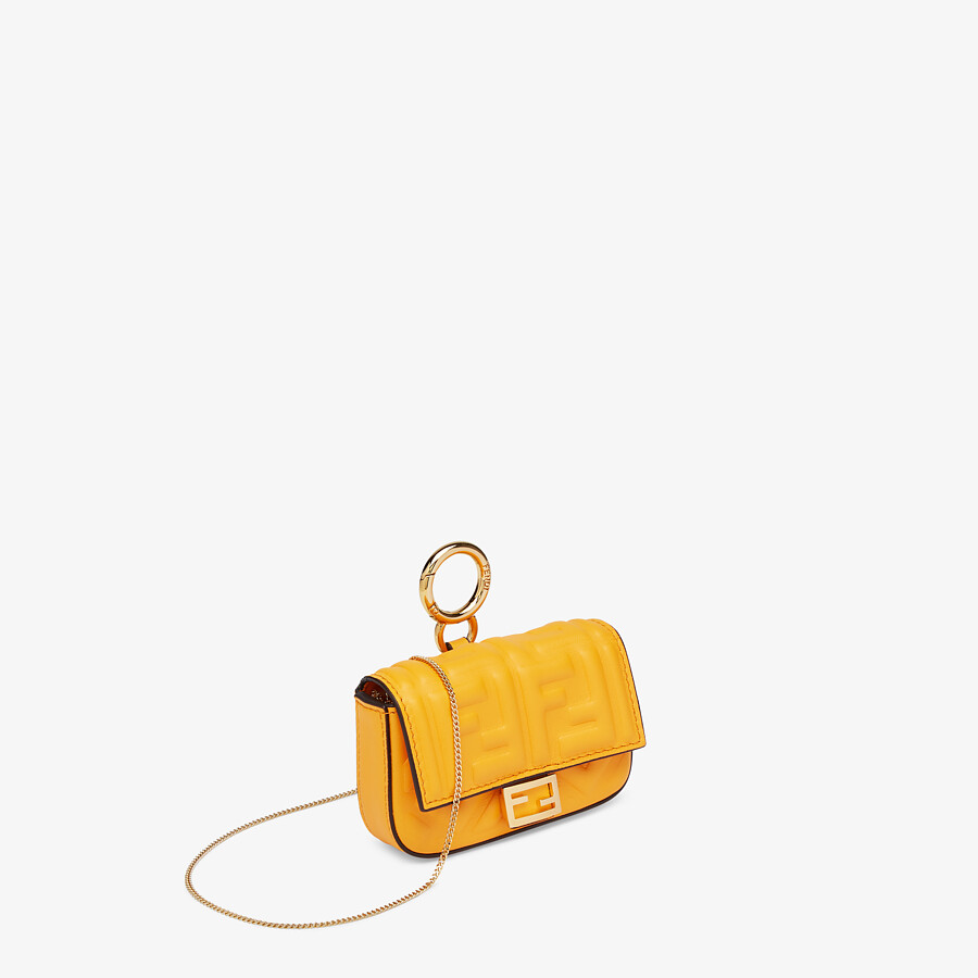 FENDI NANO BAGUETTE CHARM - Orange nappa leather charm - view 2 detail
