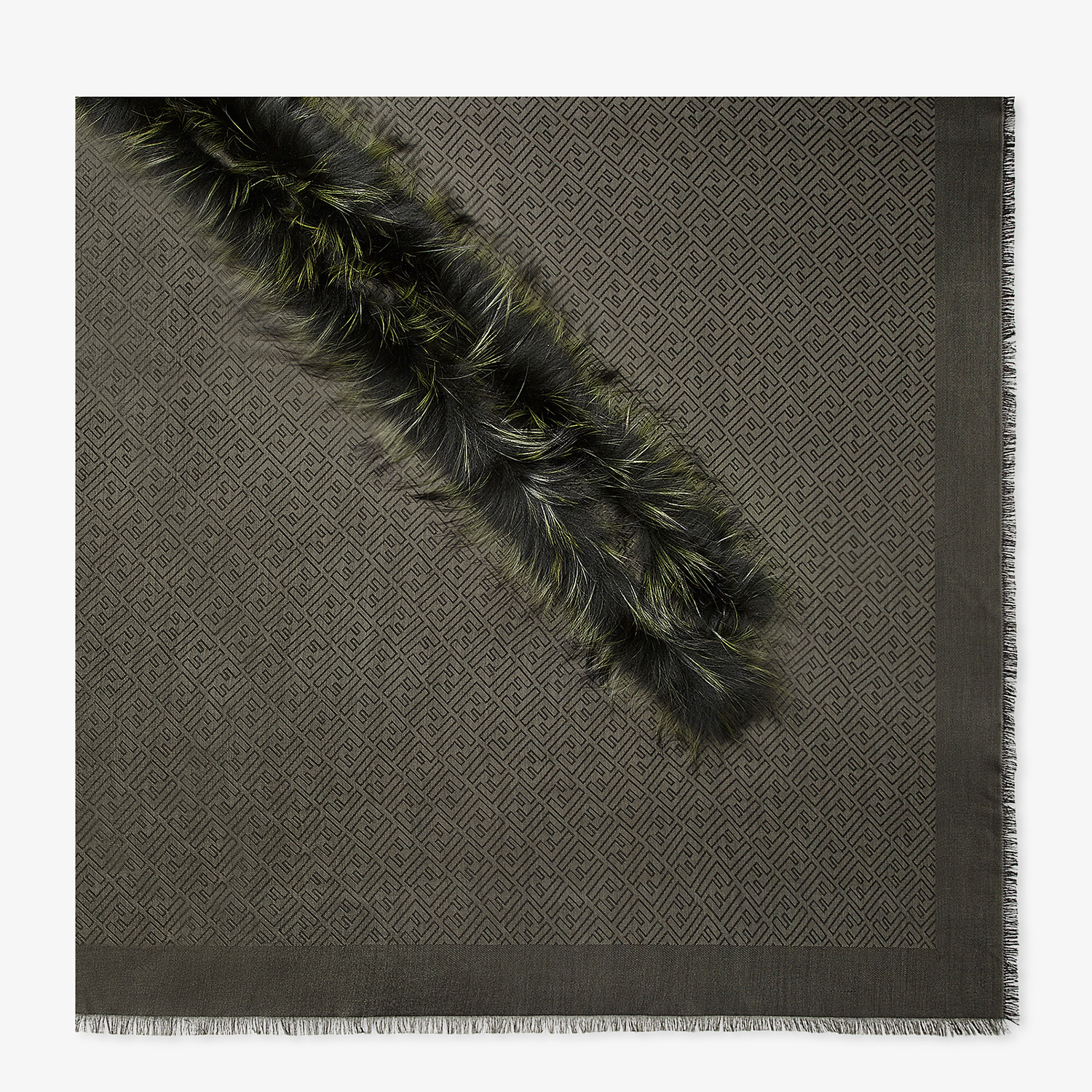 FENDI TOUCH OF FUR SHAWL - Shawl in silk, wool and fur - view 1 detail