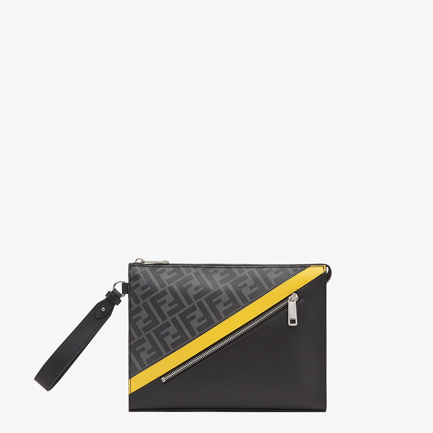 FENDI FLAT POUCH - Gray fabric pouch - view 1 detail