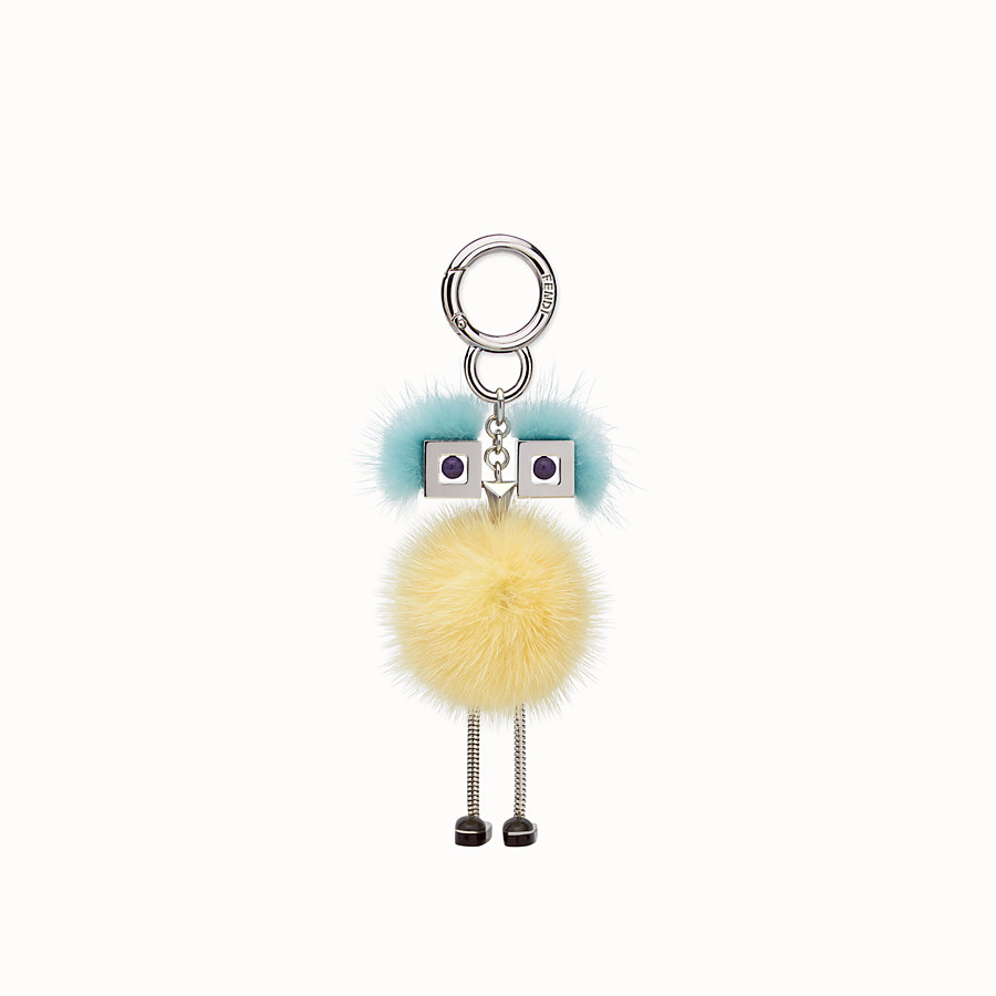 FENDI CHICK BAG CHARM - Charm in yellow and light blue fur - view 2 detail