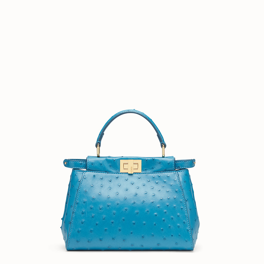 FENDI PEEKABOO MINI - Light blue ostrich leather bag - view 1 detail
