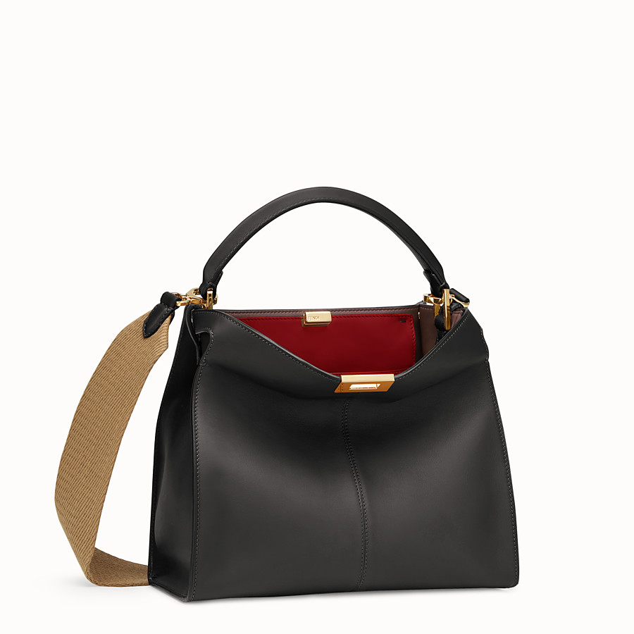 FENDI PEEKABOO X-LITE REGULAR - Black leather bag - view 3 detail