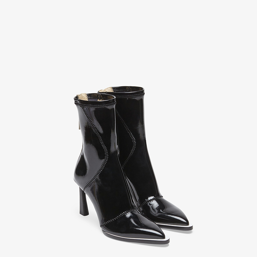FENDI ANKLE BOOTS - Glossy black neoprene ankle boots - view 4 detail