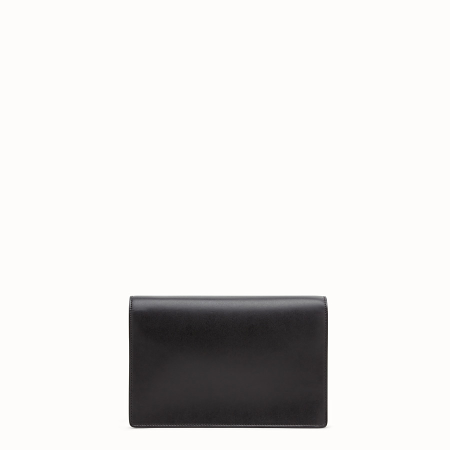 FENDI WALLET ON CHAIN - Balck leather mini-bag with exotics details - view 3 detail