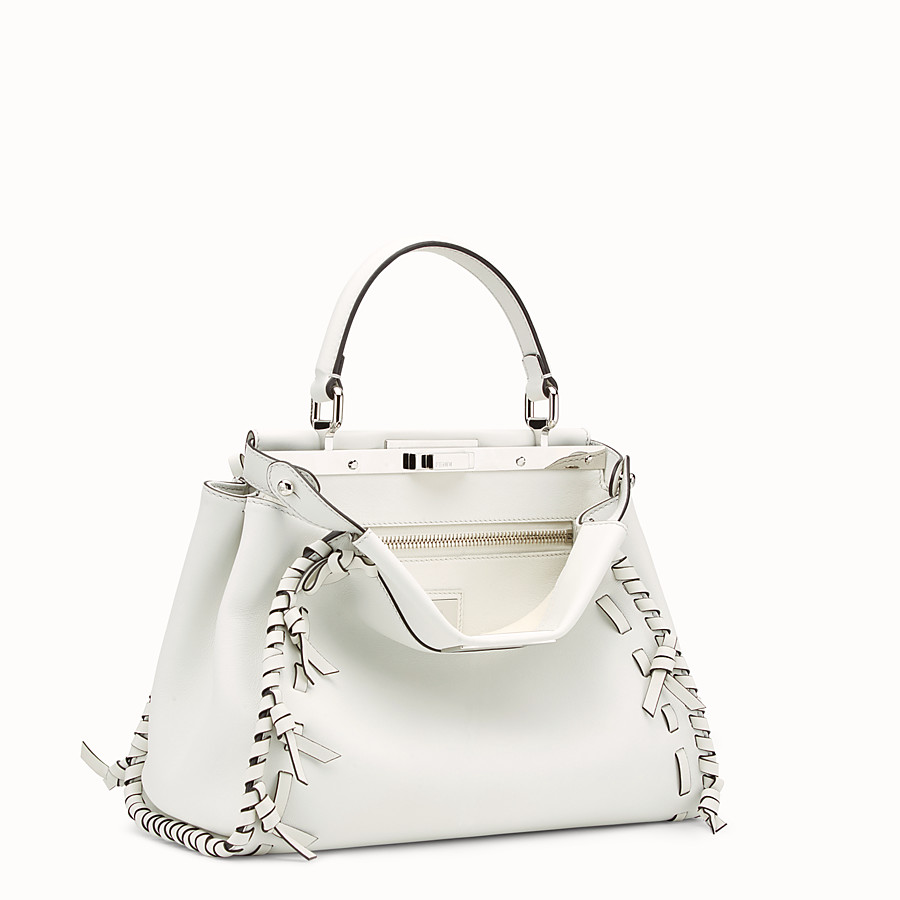 FENDI PEEKABOO REGULAR - White leather bag - view 2 detail