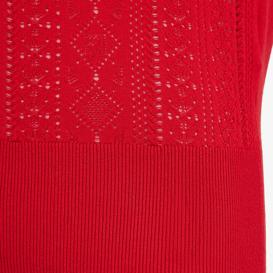 FENDI T-SHIRT - Red viscose T-shirt - view 3 detail