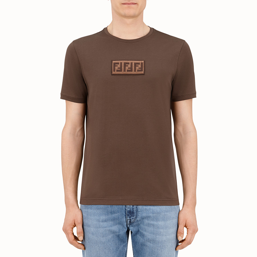 FENDI T-SHIRT - Brown cotton T-shirt - view 1 detail