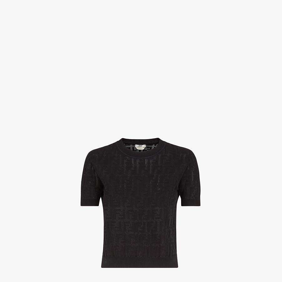 FENDI SWEATER - Black cotton sweater - view 1 detail