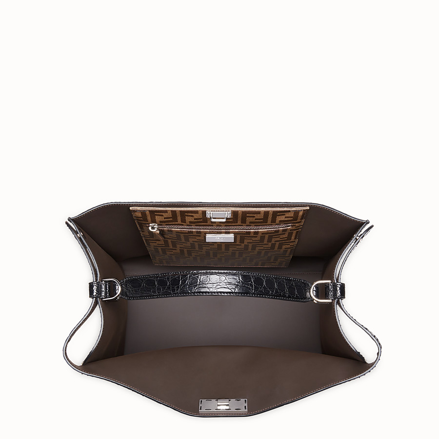 FENDI PEEKABOO X-LITE REGULAR - Black python leather bag - view 5 detail
