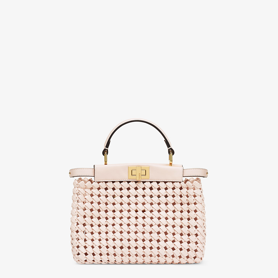 FENDI PEEKABOO ICONIC MINI - Pink leather interlace bag - view 1 detail