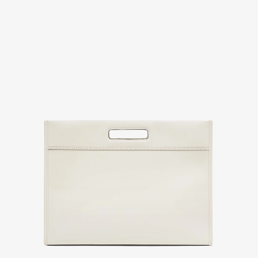 FENDI SHOPPING BAG - White leather shopper - view 4 detail